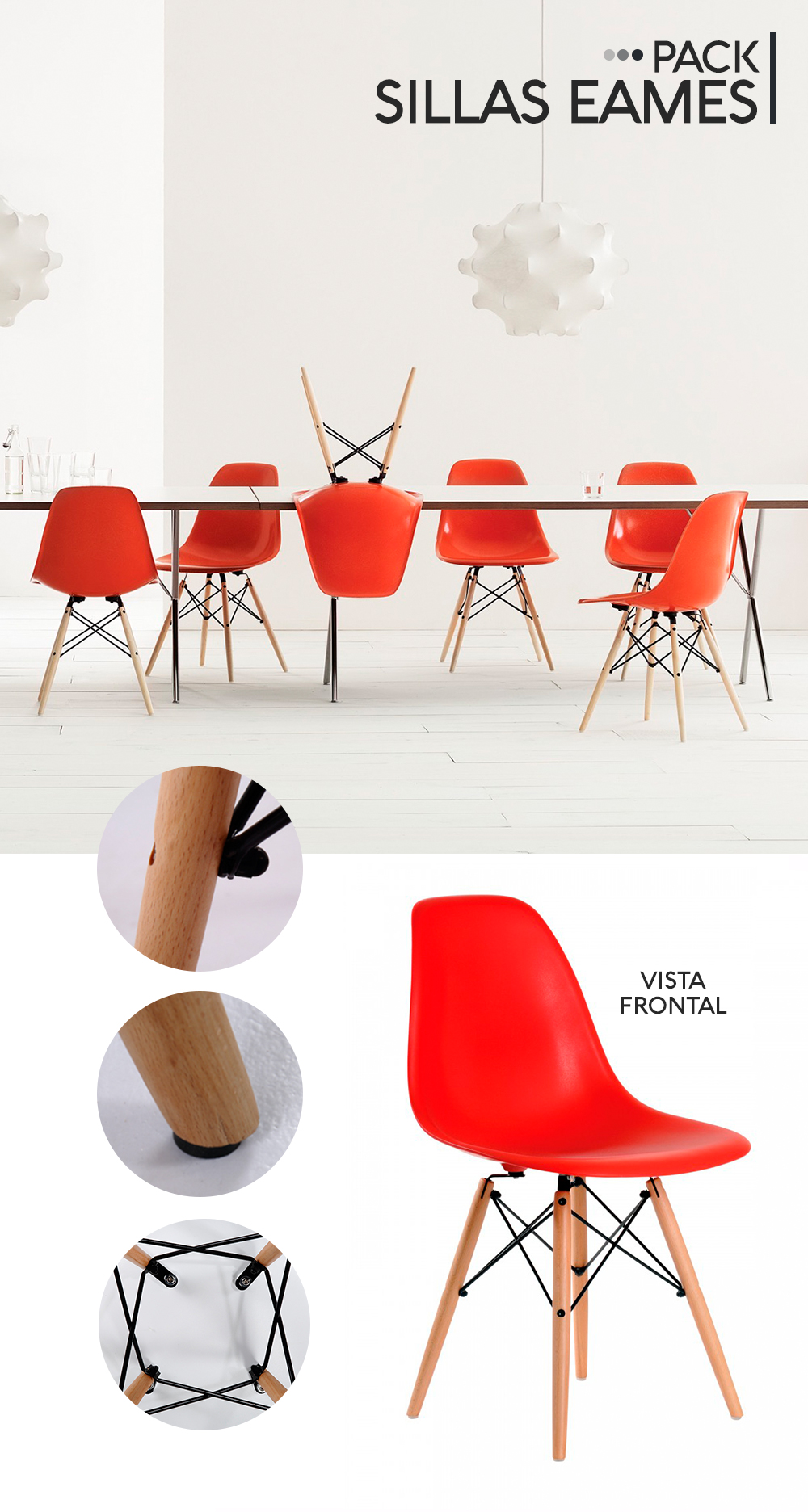 sillas eames rojas
