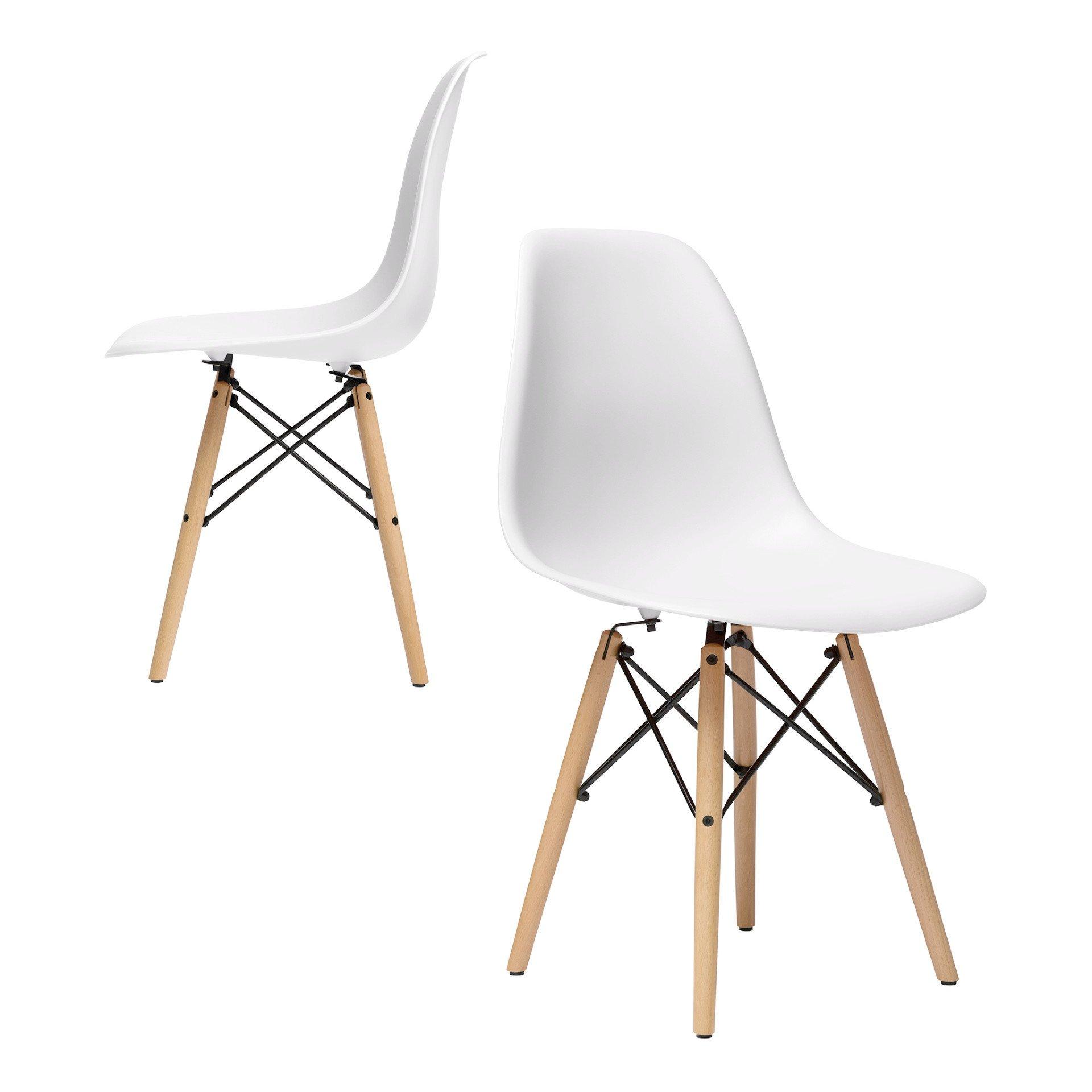 Silla moderna tipo Eames Dowel-Leg Side Chair (DSW)