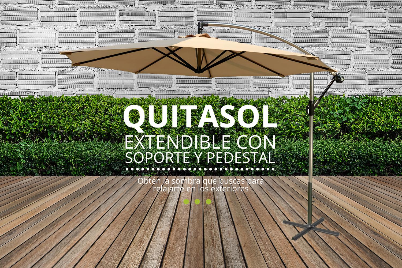 Quitasol extendible con soporte y pedestal